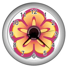 Flower Floral Hole Eye Star Wall Clocks (silver)  by Alisyart