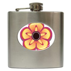 Flower Floral Hole Eye Star Hip Flask (6 Oz) by Alisyart