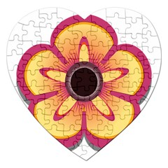 Flower Floral Hole Eye Star Jigsaw Puzzle (heart) by Alisyart