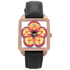 Flower Floral Hole Eye Star Rose Gold Leather Watch  by Alisyart