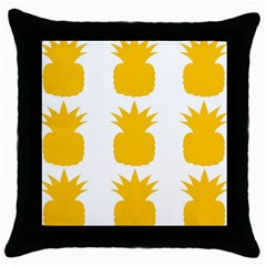 Fruit Pineapple Printable Orange Yellow Throw Pillow Case (black)