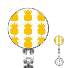 Fruit Pineapple Printable Orange Yellow Stainless Steel Nurses Watch