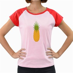 Fruit Pineapple Yellow Green Women s Cap Sleeve T Shirt