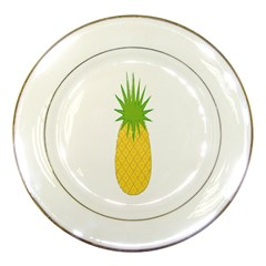 Fruit Pineapple Yellow Green Porcelain Plates