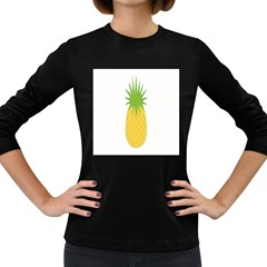 Fruit Pineapple Yellow Green Women s Long Sleeve Dark T Shirts