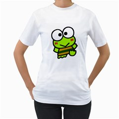 Frog Green Big Eye Face Smile Women s T Shirt (white) (two Sided) by Alisyart