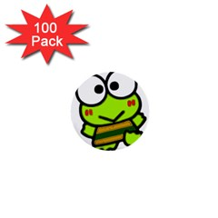 Frog Green Big Eye Face Smile 1  Mini Buttons (100 Pack)  by Alisyart