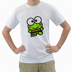 Frog Green Big Eye Face Smile Men s T Shirt (white) (two Sided)