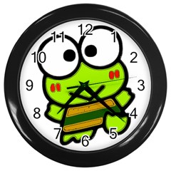 Frog Green Big Eye Face Smile Wall Clocks (black) by Alisyart