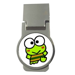 Frog Green Big Eye Face Smile Money Clips (round)  by Alisyart