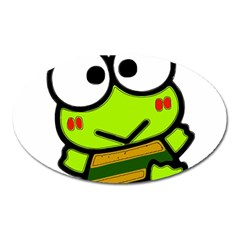 Frog Green Big Eye Face Smile Oval Magnet