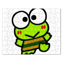 Frog Green Big Eye Face Smile Rectangular Jigsaw Puzzl by Alisyart