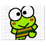 Frog Green Big Eye Face Smile Rectangular Jigsaw Puzzl Front
