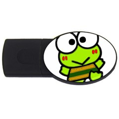 Frog Green Big Eye Face Smile Usb Flash Drive Oval (4 Gb)