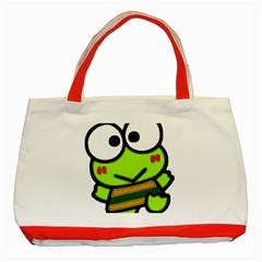 Frog Green Big Eye Face Smile Classic Tote Bag (red) by Alisyart