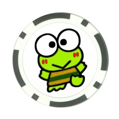 Frog Green Big Eye Face Smile Poker Chip Card Guard