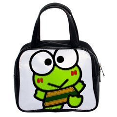 Frog Green Big Eye Face Smile Classic Handbags (2 Sides) by Alisyart