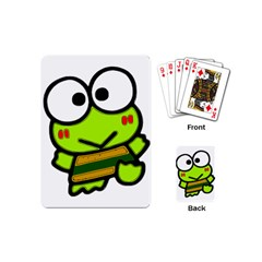 Frog Green Big Eye Face Smile Playing Cards (mini)  by Alisyart