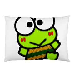 Frog Green Big Eye Face Smile Pillow Case (two Sides) by Alisyart