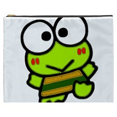 Frog Green Big Eye Face Smile Cosmetic Bag (xxxl)
