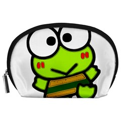 Frog Green Big Eye Face Smile Accessory Pouches (large)