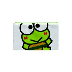 Frog Green Big Eye Face Smile Cosmetic Bag (xs) by Alisyart