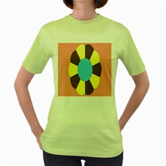 Garage Door Quilts Flower Line Women s Green T Shirt by Alisyart