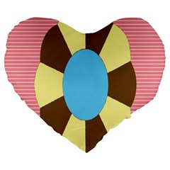Garage Door Quilts Flower Line Large 19  Premium Heart Shape Cushions by Alisyart
