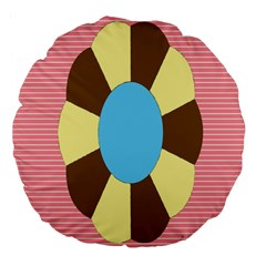 Garage Door Quilts Flower Line Large 18  Premium Flano Round Cushions by Alisyart