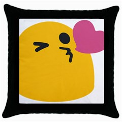 Happy Heart Love Face Emoji Throw Pillow Case (black)