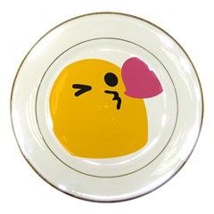 Happy Heart Love Face Emoji Porcelain Plates by Alisyart