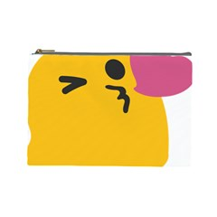 Happy Heart Love Face Emoji Cosmetic Bag (large)  by Alisyart
