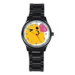 Happy Heart Love Face Emoji Stainless Steel Round Watch