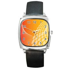 Abstract Orange Background Square Metal Watch by Simbadda
