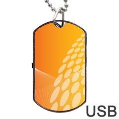 Abstract Orange Background Dog Tag Usb Flash (two Sides) by Simbadda