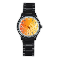 Abstract Orange Background Stainless Steel Round Watch