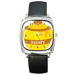 Honet Bee Sweet Yellow Square Metal Watch