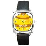 Honet Bee Sweet Yellow Square Metal Watch Front