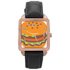 Hamburger Rose Gold Leather Watch  by Alisyart