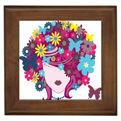 Floral Butterfly Hair Woman Framed Tiles by Alisyart