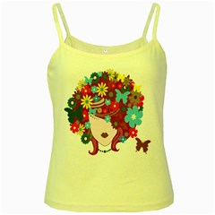 Floral Butterfly Hair Woman Yellow Spaghetti Tank by Alisyart