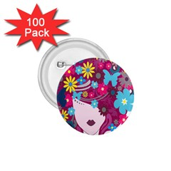 Floral Butterfly Hair Woman 1 75  Buttons (100 Pack)