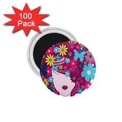 Floral Butterfly Hair Woman 1 75  Magnets (100 Pack)  by Alisyart
