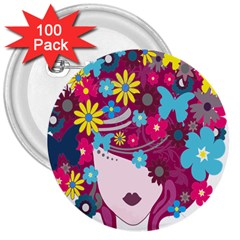 Floral Butterfly Hair Woman 3  Buttons (100 Pack)  by Alisyart