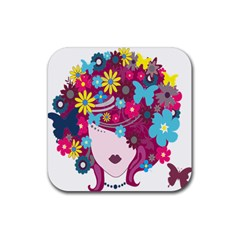 Floral Butterfly Hair Woman Rubber Square Coaster (4 Pack)  by Alisyart