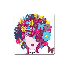 Floral Butterfly Hair Woman Square Magnet by Alisyart