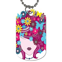 Floral Butterfly Hair Woman Dog Tag (two Sides) by Alisyart