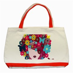 Floral Butterfly Hair Woman Classic Tote Bag (red) by Alisyart