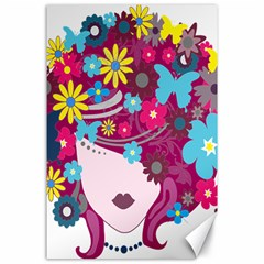 Floral Butterfly Hair Woman Canvas 24  X 36