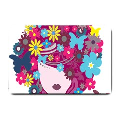 Floral Butterfly Hair Woman Small Doormat  by Alisyart